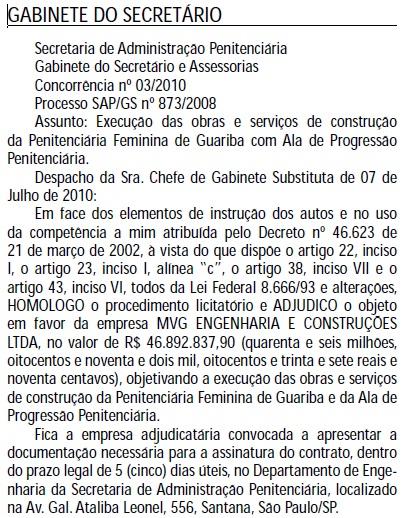 Publicação no Diário Oficial
